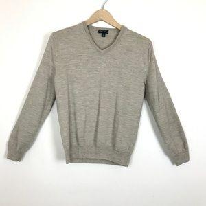 J Crew Italian Merino Wool Tan V-Neck Mens Sweater